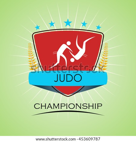 Judo - Winner Golden Laurel Seal  - Layered EPS 10 Vector