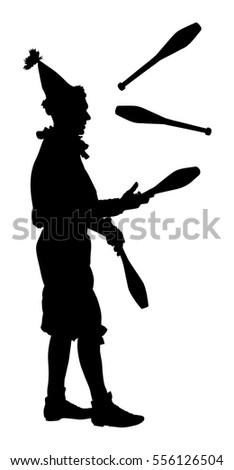 Juggler artist vector silhouette, Juggling with pins. Clown in circus jugging performs skill.