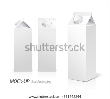Juice and milk blank white carton boxes  3d. Isolated object. Vector illustration. Mock-up packages - stock vector