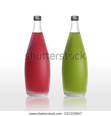 juice bottles set template isolated on white background