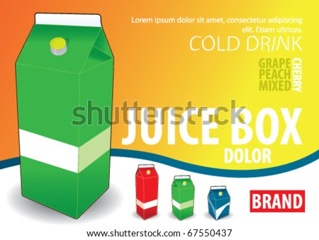 juice box, milk box - stock vector