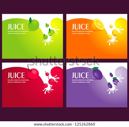 juice fruit liquid drops splash colorful background - stock vector
