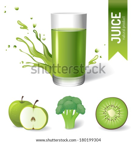 Juice in glass, fruits and vegetables icons - stock vector