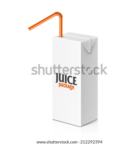 Juice or milk box with drinking straw. Vector. - stock vector