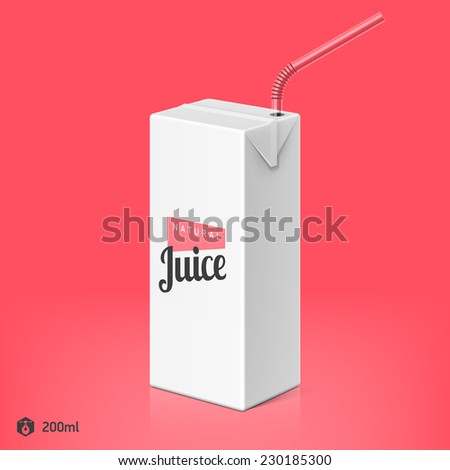 Juice or milk package with drinking straw template, 200ml. Vector. - stock vector