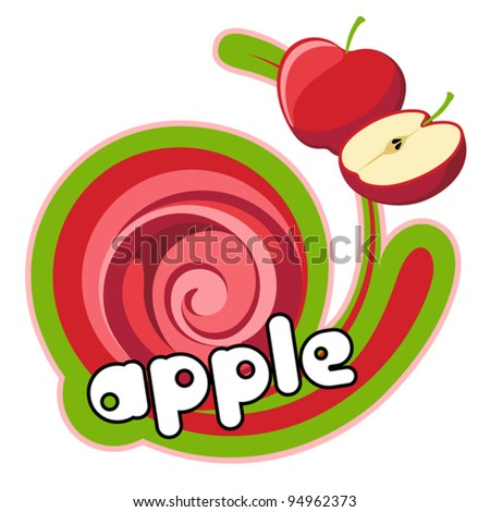 Juice red apple. Background for design of packing. Vector illustration. - stock vector
