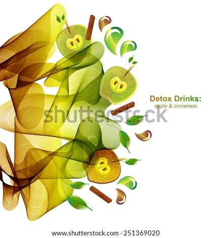 Juice splash with abstract wave, apple and cinnamon. Detox healthy drink, beautiful vector illustration - stock vector