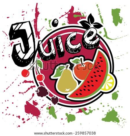 Juice sticker - stock vector