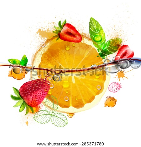 Juicy bright orange and strawberry fruit with leaf and water drops, vector watercolor work - stock vector