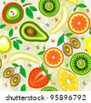 Juicy fruits Seamless Pattern. Vector - stock vector