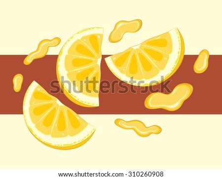 Juicy orange slices. Label for wrap. Vector - stock vector