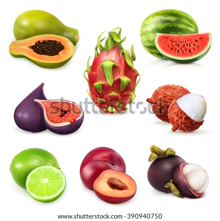 Juicy ripe sweet fruit. Vector icon set - stock vector