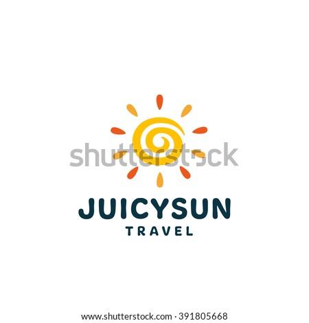 Juicy Sun. Original Bright Symbol. Memorable Visual Metaphor. Simple, Solid & Bold Mark. Represents the Concept of Summertime, Vacations, Sunbathe, Travel & Adventures, Joy, Gladness, Happy Life, etc. - stock vector
