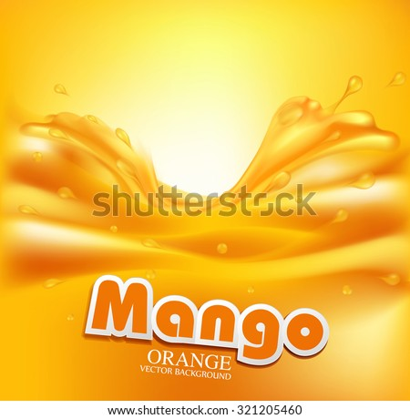 juicy vector background with splashes of orange juice - stock vector