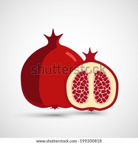 Juicy vector pomegranate - stock vector