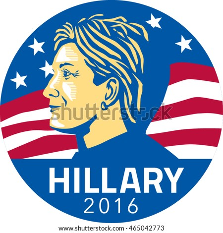 Jul 8, 2016:Illustration showing American presidential candidate for president 2016 Hillary Clinton of the Democratic Party side profile with stars and stripes in background set inside circle.