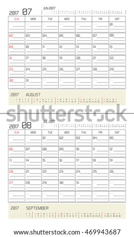July & August 2017 -planning calendar / Calendar to schedule monthly - March & April 2017