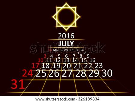 July 2016 calendar dark technology 3d style abstract background. Vector Illustration. - stock vector