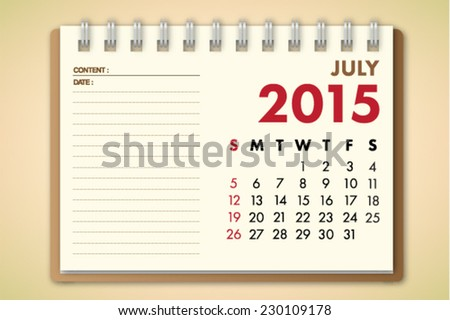 July 2015 Calendar Notebook Paper Vector  - stock vector