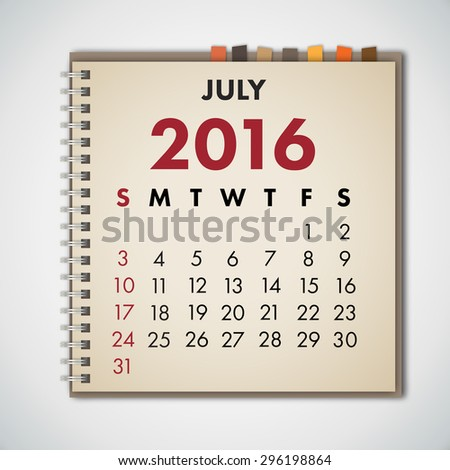July 2016 Calendar Notebook Vector  - stock vector