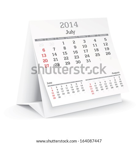 july 2014 - calendar - vector illustration