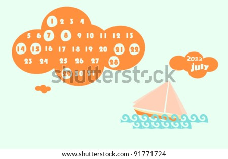 july 2012 colorful calendar illustration with sea boat - stock vector