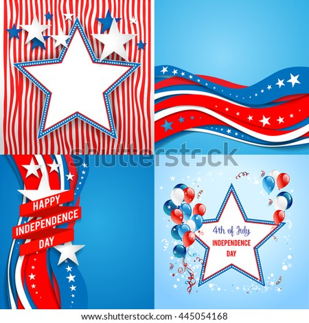 July fourth holiday set. Independence day card. Holiday template for design banner,ticket, leaflet, card, poster and so on. - stock vector