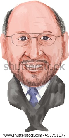 JULY 18, 2016:Illustration of Martin Schulz, German politician serving as the President of the European Parliament of viewed from front on isolated white background done in cartoon style.