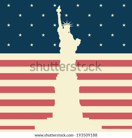 July 4, Independence day (flag USA and statue of Liberty), vector illustration, flat design - stock vector