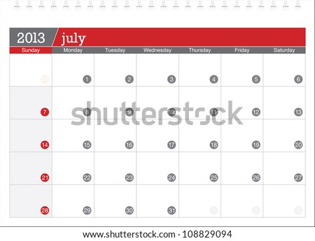 july 2013-planning calendar - stock vector