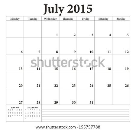 July 2015 -planning calendar. Weeks start on Monday. - stock vector