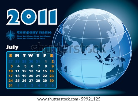 July - the Earth blue calendar for 2011, weeks starts on Sunday - stock vector