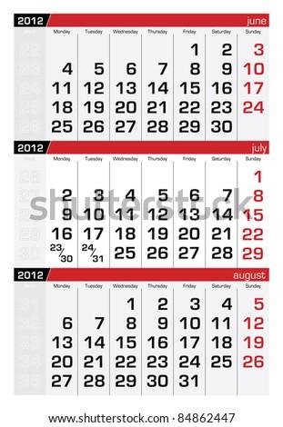 July 2012 Three-Month Calendar - stock vector
