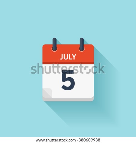 July 5 . Vector flat daily calendar icon. Date and time, day, month. Holiday. - stock vector