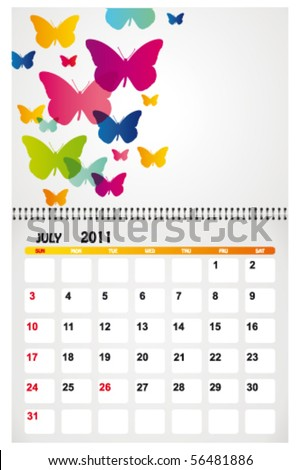 july 2011 with background - stock vector