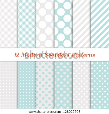 "Jumbo Polka Dot, Gingham and Diagonal Stripe Patterns in Aqua Blue, White and Silver. Pattern Swatches with Global Colors. Matches my other ""White Christmas Backgrounds"" Image ID: 118541659; 147772760 - stock vector"