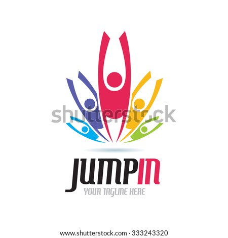 Jump In Icon logo Template - stock vector