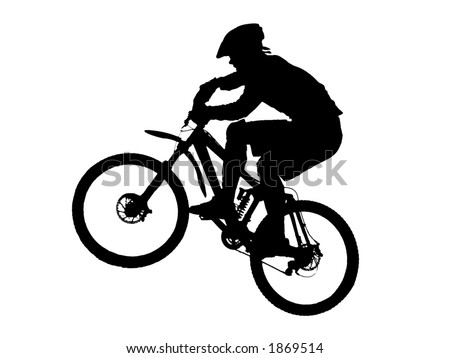 jump with a mountain bike (vector) - stock vector