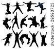 jumping and flying people silhouettes - stock vector