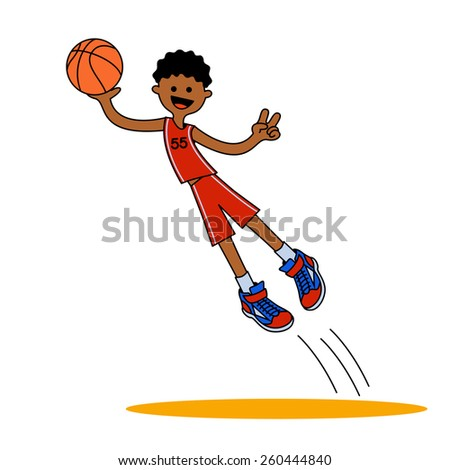 jumping basketball player AA / The african-american boy jumped up with a ball. Vector illustration isolated on a white background for sports design.  - stock vector