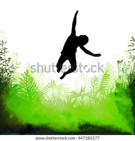 Jumping boy on nature. Vector