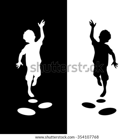 jumping boy silhouette - stock vector