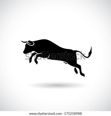 Jumping bull - vector illustration - stock vector