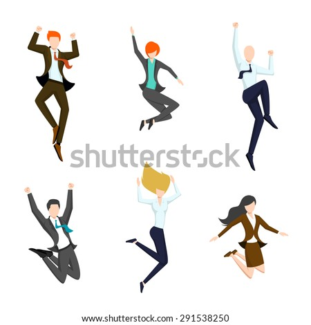 Jumping business people in the air. Happy and successful business icons.  Joy and achievement, person woman and man, vector illustration - stock vector