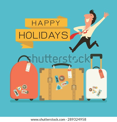 Jumping businessman in happy feeling with luggage for holiday traveling. Flat design.  - stock vector