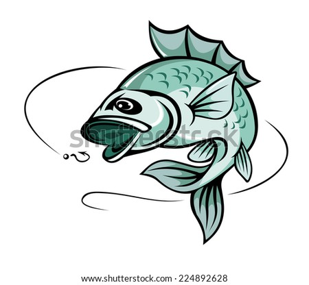 Jumping carp fish for fishing sport symbol - stock vector