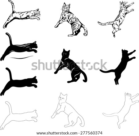 jumping cat, different graphic options image - stock vector
