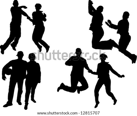 jumping couple silhouette