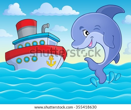 Jumping dolphin theme image 5 - eps10 vector illustration.