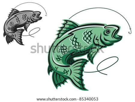 Jumping fish as a fishing symbol isolated on white background, such a logo. Rasterized version also available in gallery - stock vector